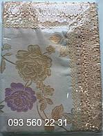 Скатерть Home Plus тканевая с кружевом (Роза) 150х220