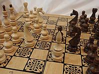 Набір 3 в 1 дерев'яні шашки, шахи, нарди 50 см Україна, фото 1