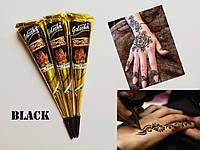 Хна в конусе для росписи тела черная, Golecha