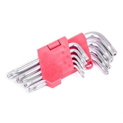 Набір Г-подібних ключів TORX з отвором 9шт., Т10-Т50 Intertool (HT-0604), фото 2