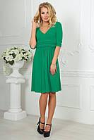 Платье повседневное с расклешенной юбкой зеленое