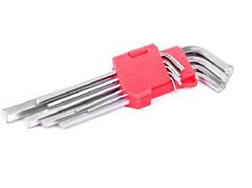 Набор Г-образных шестигранных ключей удл. 9ед., 1.5-10мм, Intertool (HT-0602)