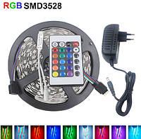 Светодиодная лента 5 м SMD 3528 (54 LED/m) IP20 + адаптер питания + пульт RGB, фото 1