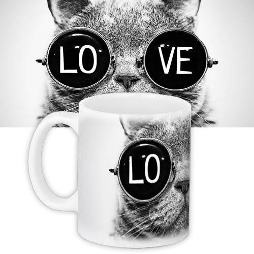 Кружка подарок с принтом Кот в очках Любовь