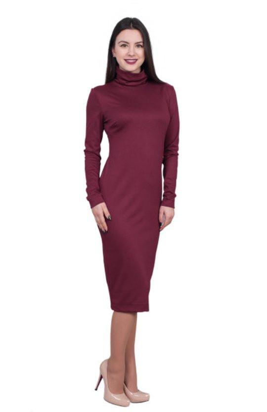 Стильне жіноче плаття-гольф бордового кольору