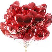 Шарики в виде сердца фольгированные с гелием