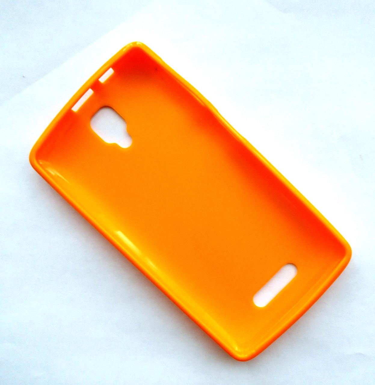 Чехол бампер силиконовый Lenovo A1000 оранжевый