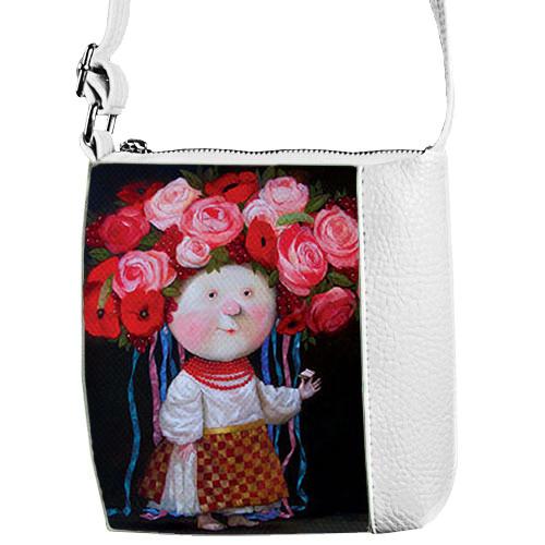 Белая детская сумка для девочки с принтом Гапчинская девочка украинка
