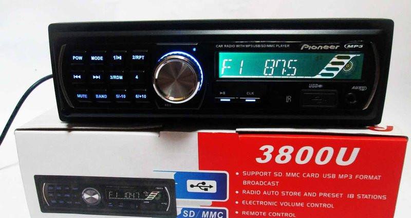 Автомагнитола 3800U Сьемная панель USB SD AUX FM