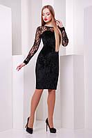Черное велюровое платье с ажурной кокеткой и рукавами