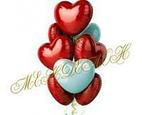 10 шаров в виде сердца фольгированные с гелием