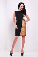 Стильное комбинированное платье без рукавов с принтом