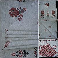 Скатерть льняная в стиле вышиванки в комплекте с салфетками
