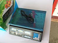 Весы торговые 40 кг: 220В/аккумулятор 4V4AH, цена деления 5 г, подсветка, сброс тары, подсчет суммы