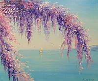 «Глициния у моря» картина маслом