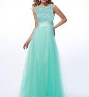 DL-58199 Выпускное бальное платье в пол бирюзового цвета из шифона и гипюра c широким поясом
