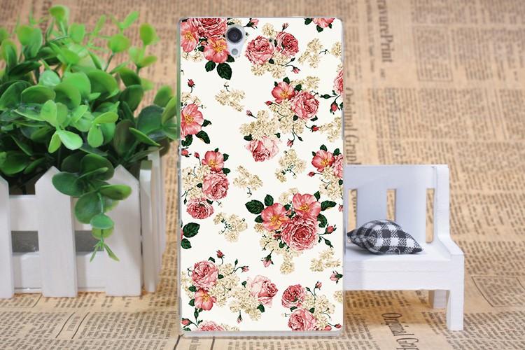 Чехол силиконовый бампер для Sony Xperia Z c6603 c6602 L36h с картинкой розы на белом фоне