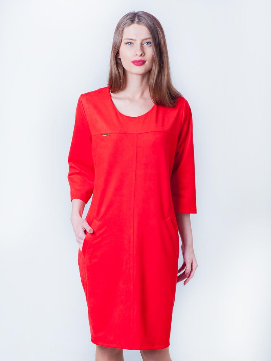 Женское замшевое платье свободное по колено, красное54, 52