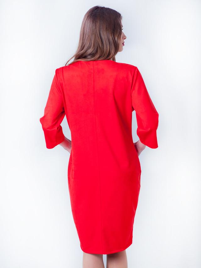 платье из замша, замшевое красное платье