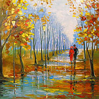 «Прогулка в парке» картина маслом