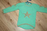 Стильная детская кофточка бирюзового цвета для девочки