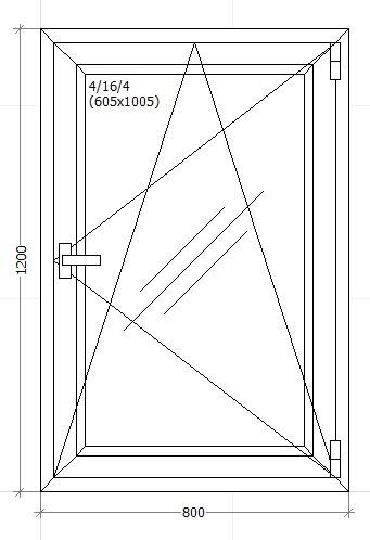 Вікно металопластикове 800х1200мм трьох камерне