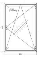 Вікно металопластикове 800х1200мм Чотирьох камерне