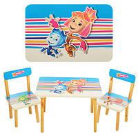 Детский деревяный столик Фиксики 501-4 с стульчиками
