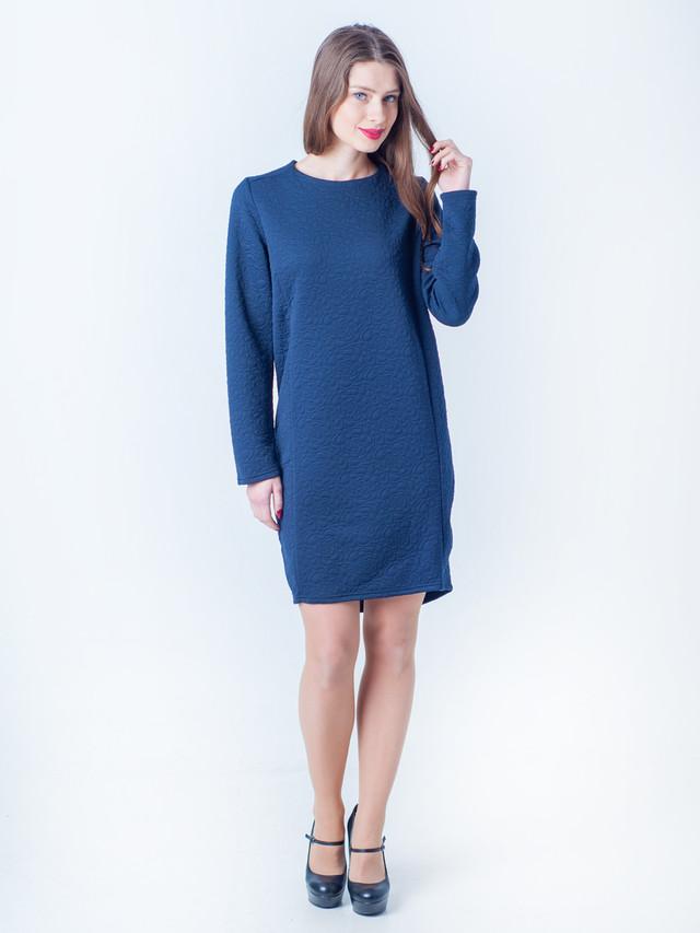 Тёплое зимнее платье синего цвета