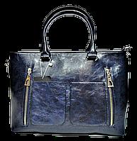 Симпатичная женская сумка из искусственной кожи синего цвета KQY-100001