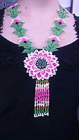 Намисто з розовою квіткою (Ожерелье с розовим цветком) AN-0094