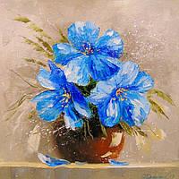 «Синие цветы» картина маслом