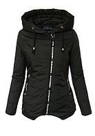 Женская весенняя куртка с капюшоном с косой молнией