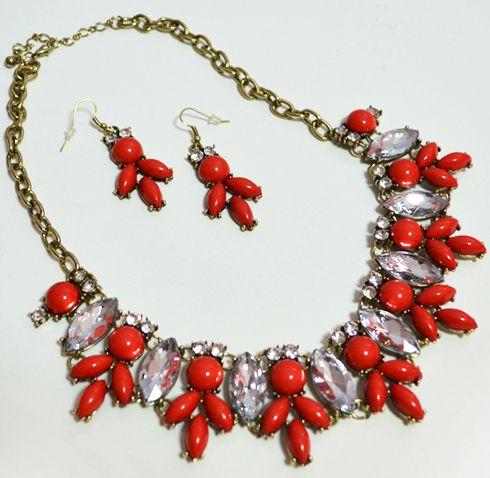 Шикарний комплект: кольє + сережки DRESS К008 червоний