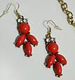 Шикарний комплект: кольє + сережки DRESS К008 червоний, фото 2