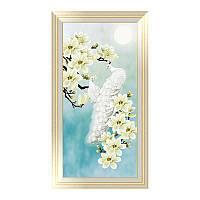 """Картина для рисования камнями Алмазная вышивка мозаика """"Павлины белые и цветы магнолии"""", фото 1"""