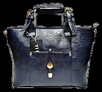 Привлекательная женская сумочка из искусственной кожи синего цвета KQY-100011