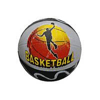 Мяч баскетбол №7 SPRINTER полиуретан,корд-нейлон, камера-бутил. Чёрно-серый, рисунок-игрок