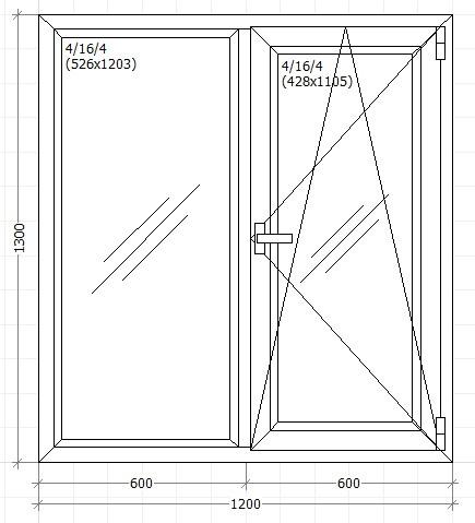 Вікно металопластикове 1200х1300мм трьох камерне