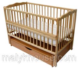 Ліжечко дитяча Веселка тм Дубок з натурального бука з ящиком, маятником і відкидною боковиною