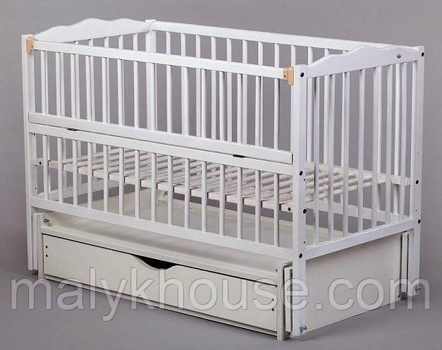Ліжечко для новонароджених Веселка тм Дубок з маятниковою качалкою (колір білий, ваніль)