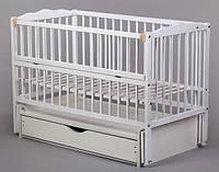 Кроватка для новорожденных Веселка тм Дубок с маятниковой качалкой (цвет белый, ваниль)
