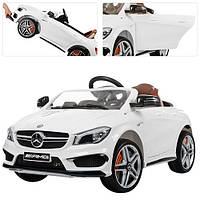 Детский Электромобиль Mercedes M 3183 EBLR белый, ЭУР, кожа, пульт Bluetooth с радаром, EVA, ручка-чемодан