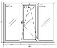 Вікно металопластикове 1700х1350мм чотирьох камерне