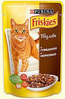 Консервы для кошек Friskies (Фрискас) с говядиной и морковью, 100 гр