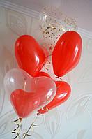Воздушные шары сердца. Фонтан из гелиевых шаров.