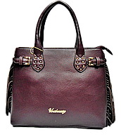Стильная женская сумка из искусственной кожи бордового цвета с лапшой FFP-210010