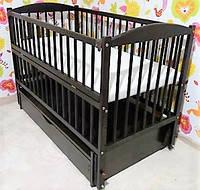 Детская кроватка Веселка тм Дубок с откидным боком на шарнирах (цвет венге)