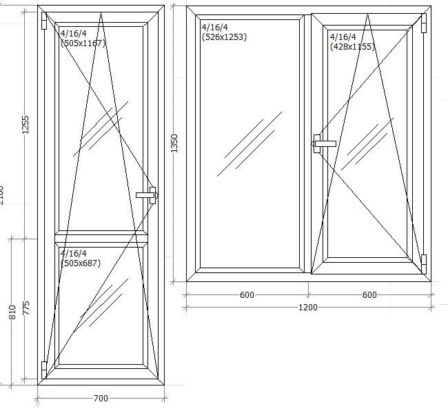 Балконний блок чотиьох камерний