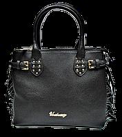 Стильная женская сумка из искусственной кожи черного цвета с лапшой FFP-210022